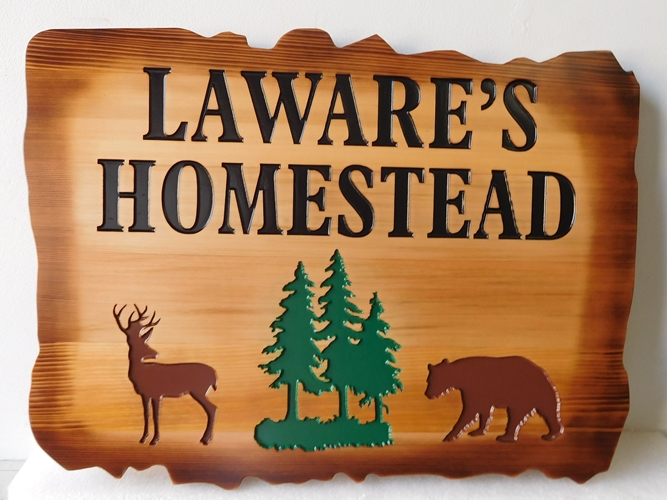"M22859 - Engraved Rustic Cedar Wood Cabin Sign ""Laware's Homestead"", with Bear, Deer and Trees as Artwork"