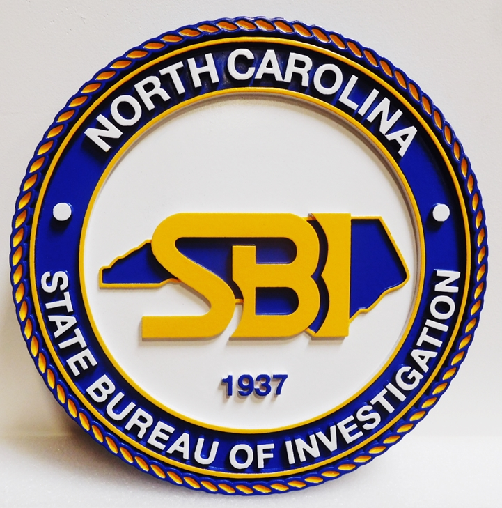 BP-1417 - Carved Plaque of the  Seal of the State Bureau of Investigation, North Carolina, 2.5-D Artist-Painted