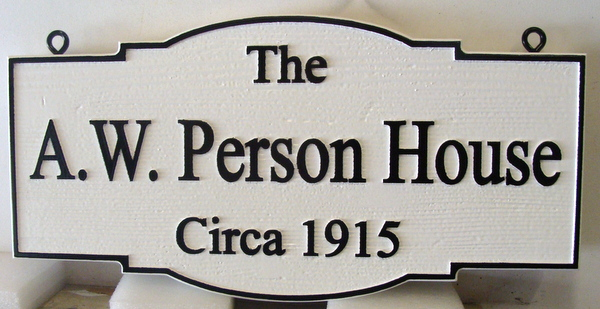 "FA15584 - Carved and Sandblasted Wood Grain Building Identification  Sign , ""A.W. Person House"""