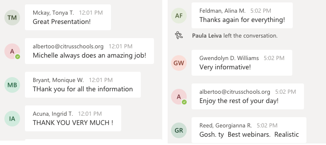 Real feedback from our Distance Learning webinars