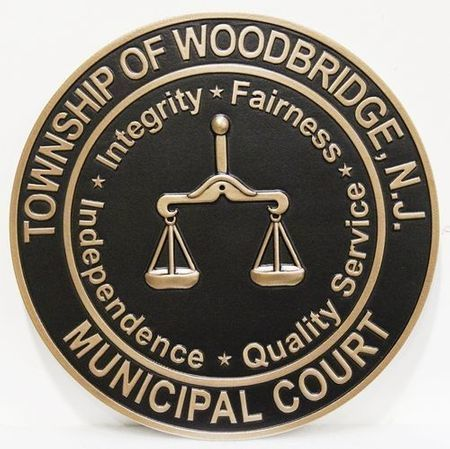 HP-1095 - Carved 2.5-D Raised  Relief Plaque of the Seal of the Municipal Court,  the Township of Woodbridge,New Jersey