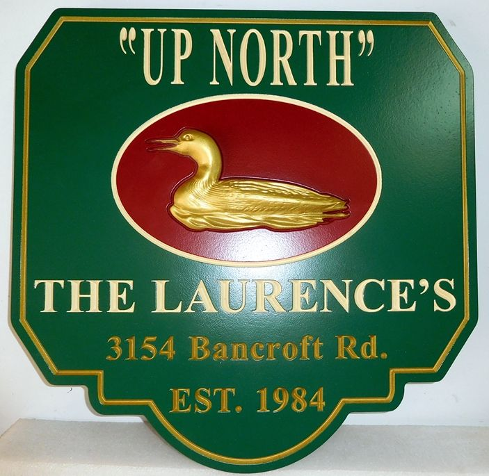 "M2158 - Address and Property Name Sign ""Up North"" with Duck as Artwork (Gallery 21)"