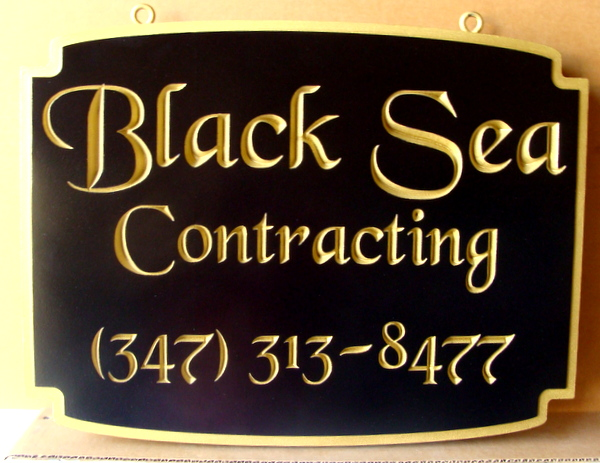 """SA28758 - Carved HDU Sign for """"Black Sea"""" Contracting Company, with  24K Gold Leaf Gilded Text"""