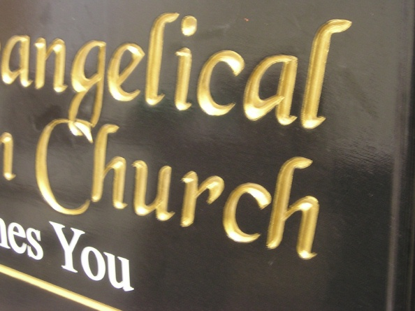 "D13022 - Painted Wood ""Welcome"" Sign with Gold Leaf Lettering for Evangelical Church"