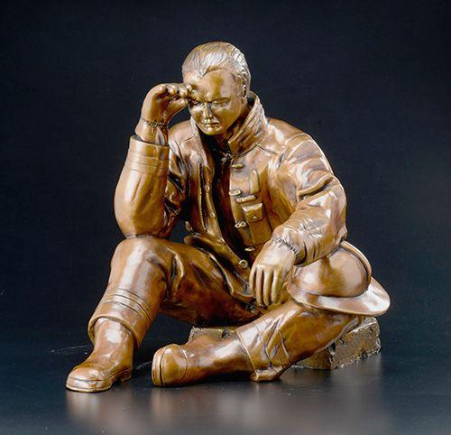"""Aftermath, cast bronze, 18""""H x 18""""W x 24""""D"""