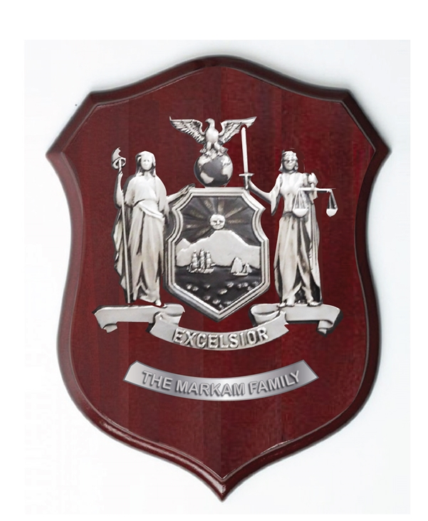 XP-2040 - Carved Shield Wall Plaque of Family Coat-of-Arms / Crest, German Silver Plated with Mahogany Wood