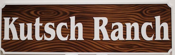 O24956 - Entrance Sign for Kutsch Ranch, with Faux Wood Grain