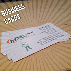 Minuteman press napa california 94558 grapeyard center printing we can design and print business cards that incorporate your personal or company identity these can range in format from basic black white to impressive colourmoves Images