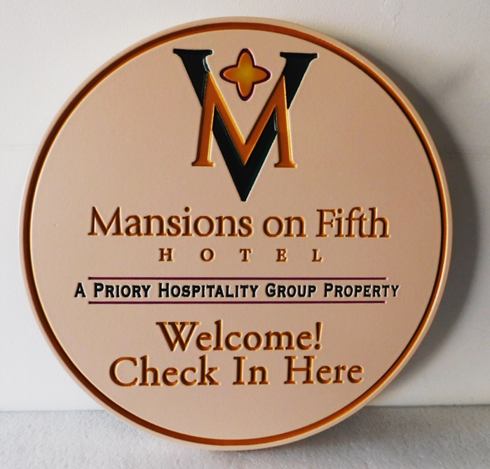 "T29154 - Carved Sign for the ""Mansions on 5th Hotel'., 2.5D Engraved, Artist-Painted"
