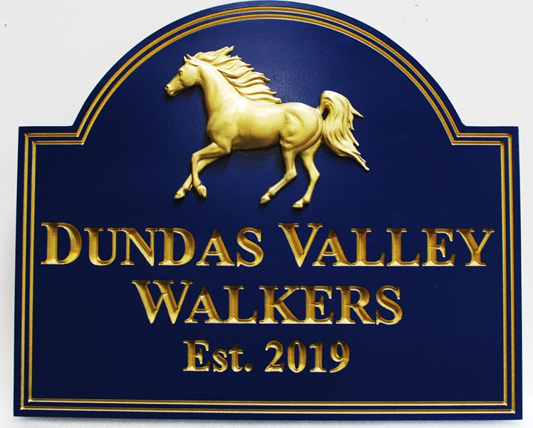 P25320 - Carved Entrance Sign for the Dundas Valley Walkers, with  Engraved V-carved Text and a 3-D Sculpted Bas-relief carving of an Arabian Stallion, Gilded with24K Gold-leaf.