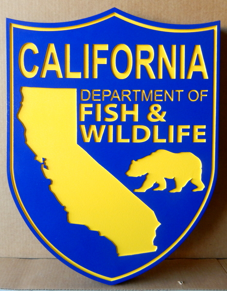 W32076B - Carved HDU Wall Plaque for California Departent of Fish and Game