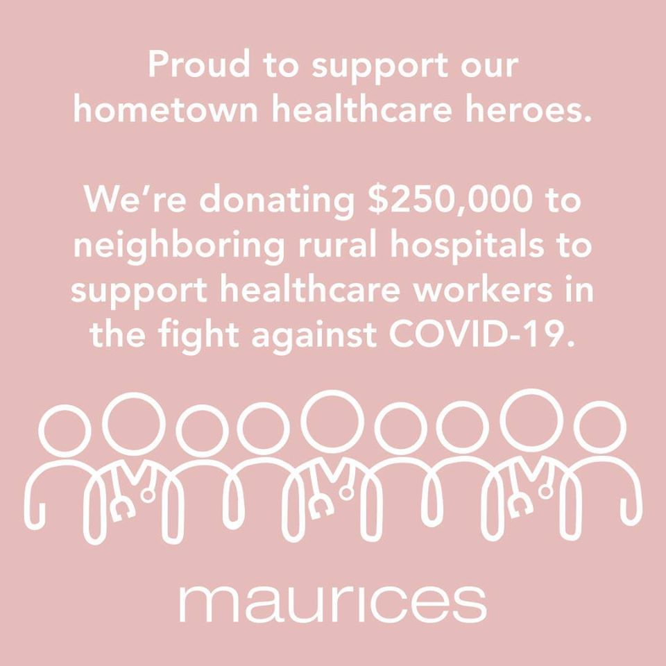 Maurices gives $5,000 donation to Fremont Health Foundation for COVID-19 efforts
