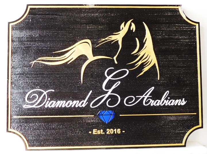 "P25331 - Carved and Sandblasted Wood Grain Sign for the ""Diamond G Arabians""   Farm with an Outline of an Arabian Horse as Artwork"