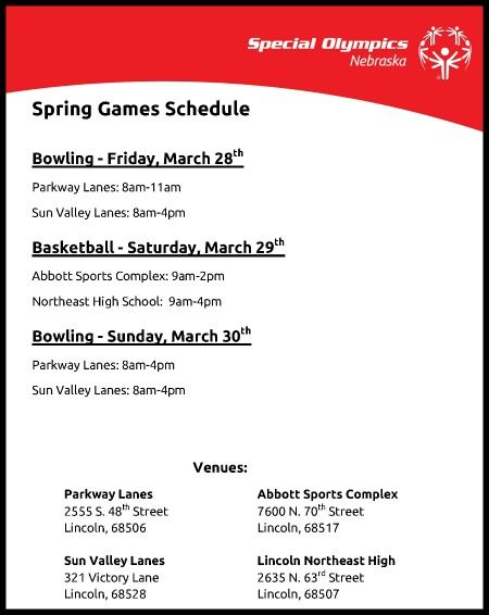 Spring Games Schedule and Venues