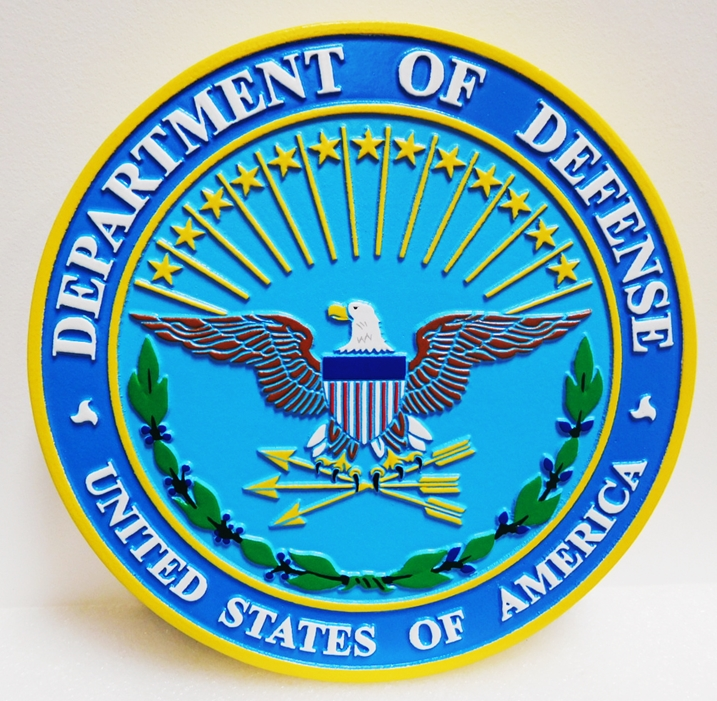 IP-1042 - Carved Plaque of the Great Seal of the Department of Defense, 2.5-D relief, Artist-painted