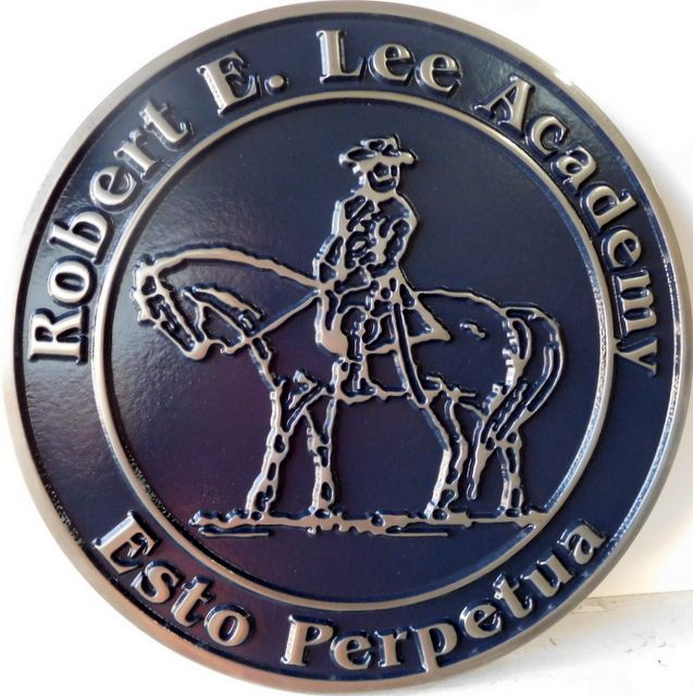 Y34701 -  Carved Round Wall Plaque of the  Seal of Robert E. Lee Academy, with Gen. Lee and Traveler. as Artwork