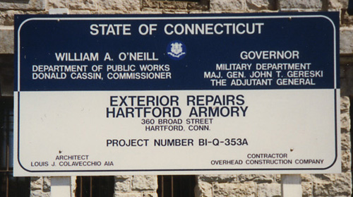Construction Site Sign, State of CT Project with Seal