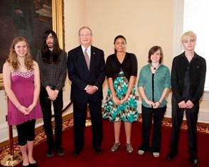 "Senate Majority Leader J.T. ""Jabo"" Waggoner & ASFA students."
