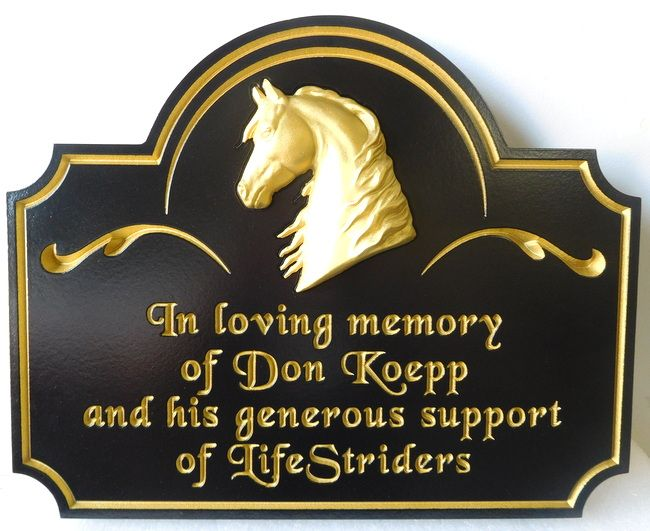 GC16660 - Engraved HDU Custom Wall Plaque Celebrating theMemory of Don Koepp, with Carved 3-D Horse Head