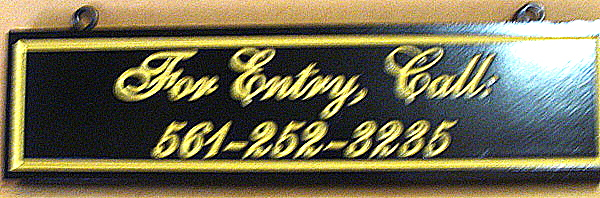KA20545 - Apartment Building Entry Sign, Engraved Script with Gold-Leaf Gilding