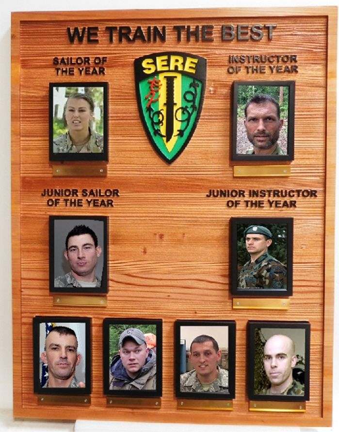 SB1020-  Recognition and Award Photo Board for the Survival, Evasion, Resistance and Escape (SERE) Training Program, Carved from Sandblasted California Redwood
