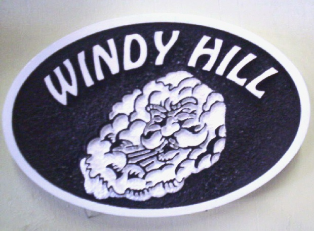 M22230 - Sign for Windy Hill with Aeolus, Greek God of the Wind