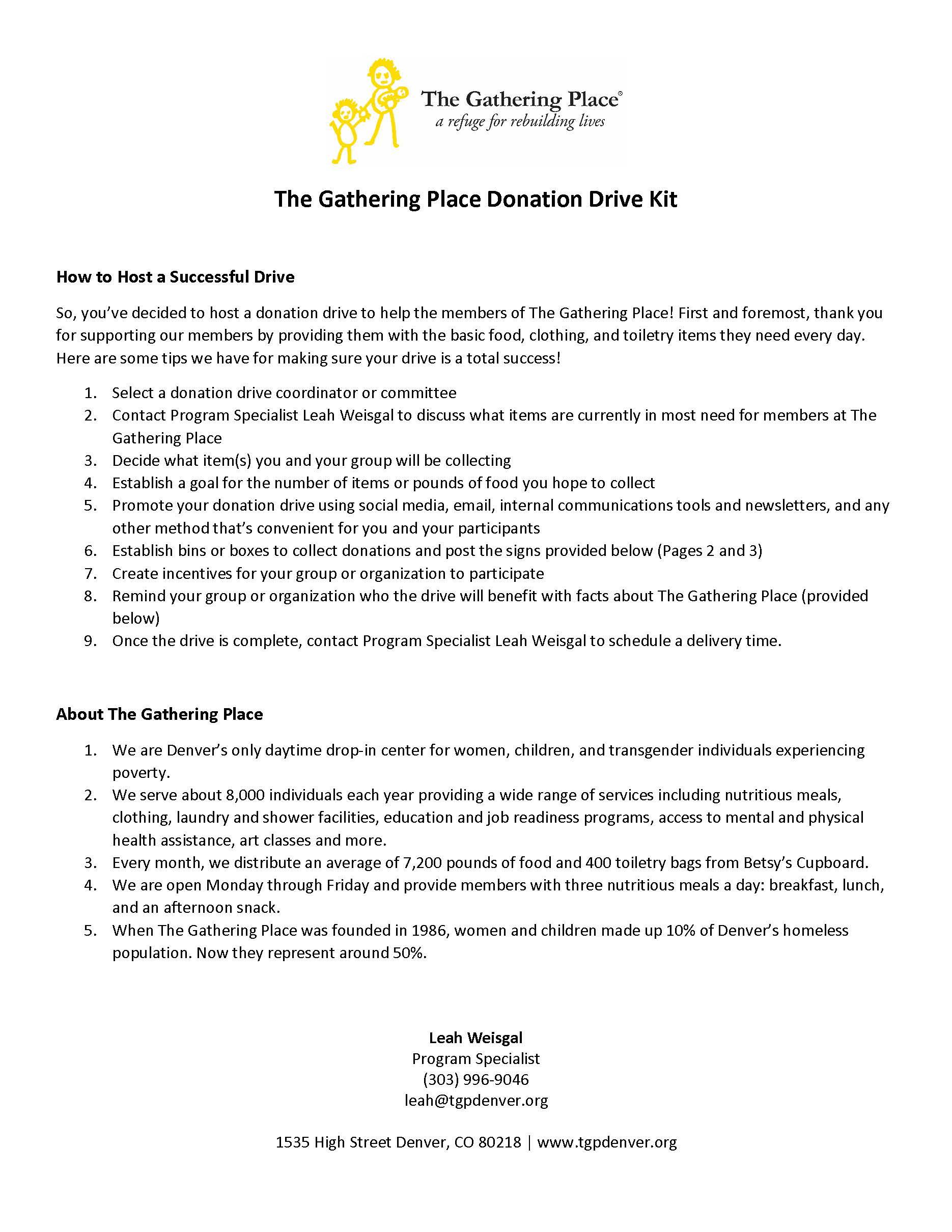 Donation Drive Kit