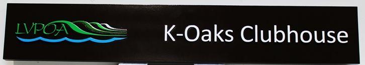 KA20614 - Elegant Carved elegant K-Oaks ClubhouseSign, with Logo