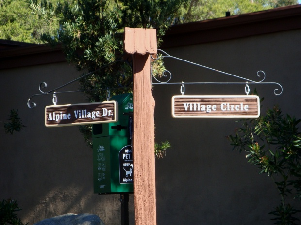 H17027 - Rustic Street Signs, Hangers and Posts for an Apartment Complex