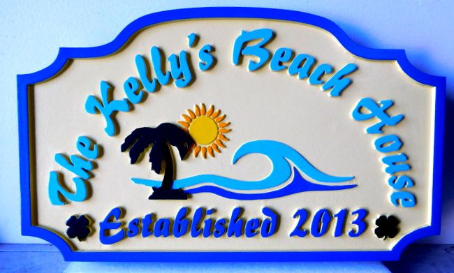"L21171 - Carved  Multi-level  Property Name Sign ""Kelly's Beach House"", with Surf, Palm Tree, and Sun"