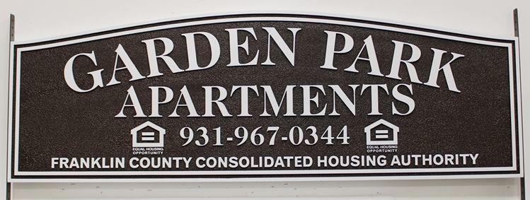 """K20414 - Carved High-Density-Urethane (HDU) Entrance sign for the """"Garden Park Apartments""""."""