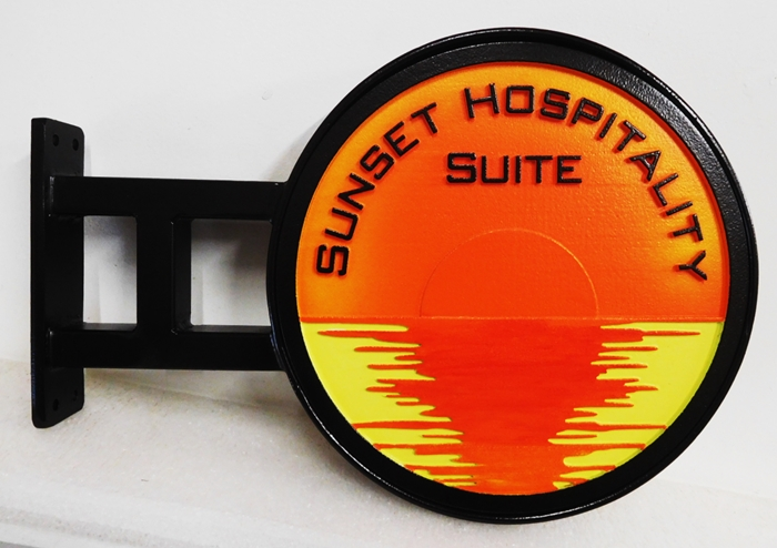 "T29234 - Carved Sign made for the ""Sunset Hospitality Suite Suit"" of an Inn, with Custom Wrought Iron Bracket for Mounting on a Wall"