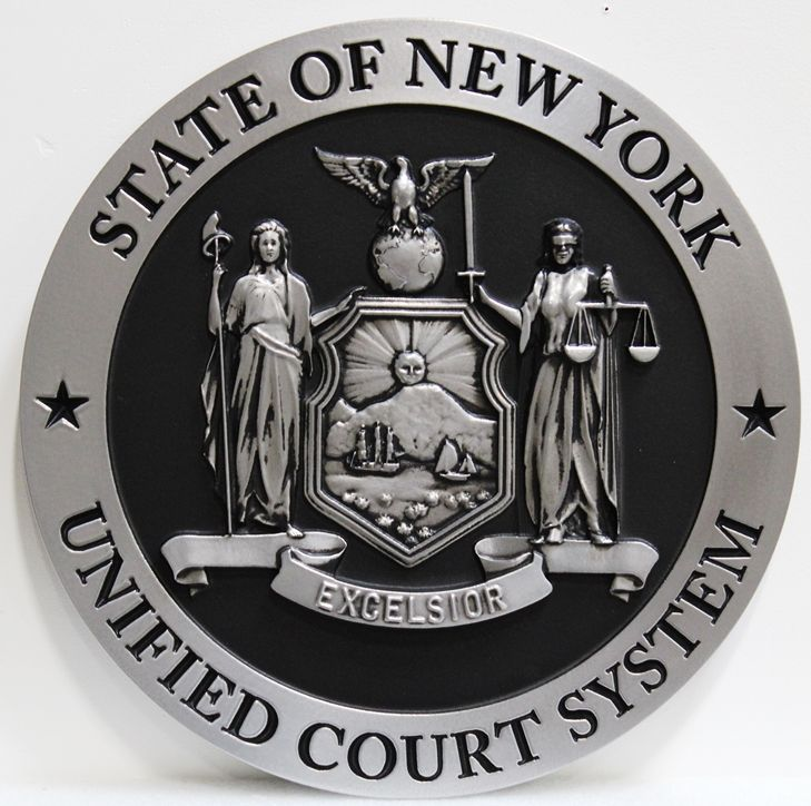GP-1235 - Carved Plaque of the Seal of the Unified Court System, State of New York , 3-D, Painted Silver and Black