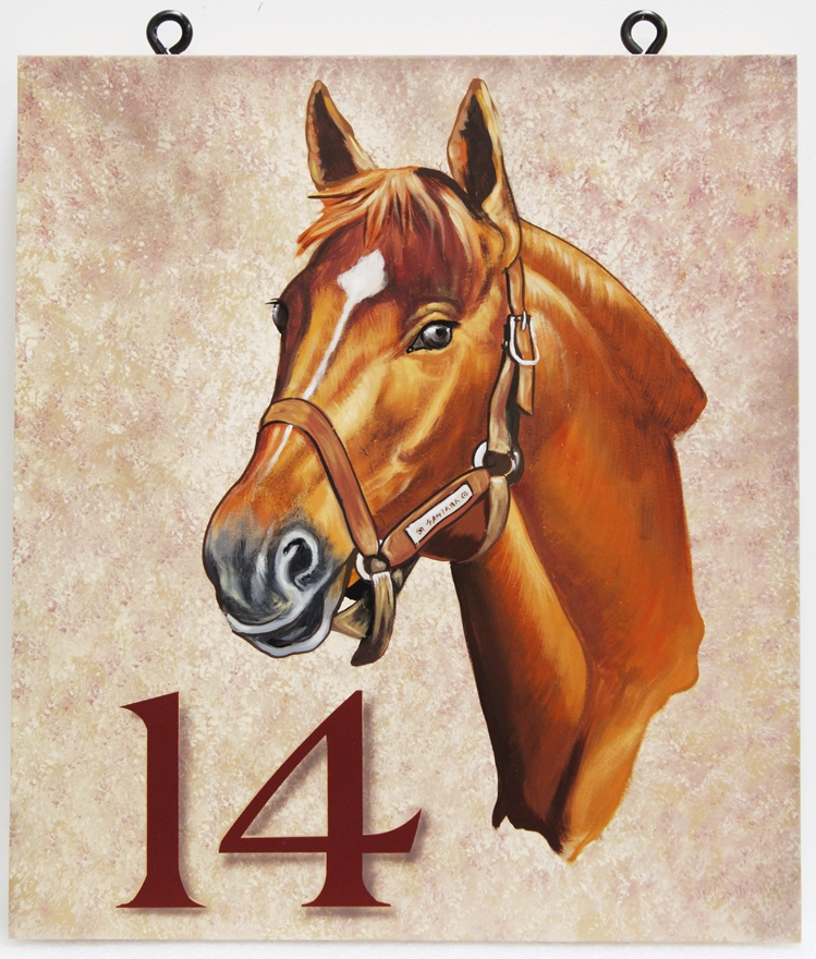 P25012 -  Carved Sign featuring the Head of a Beautiful Horse, Painted  with Artist-Brushes and Airbrush