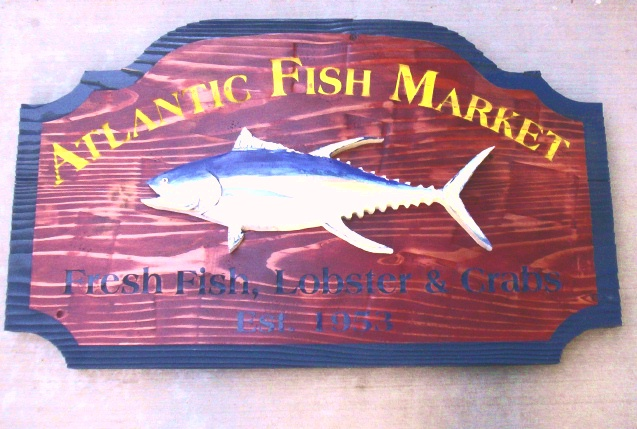 M3919 - Rustic Fish Market Sign for Fresh Fish, Lobsters and Crabs with 3-D Carved Mounted Fish (Galleries 20 and 25)