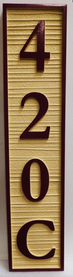 I18865 -  Vertical Carved and Sandblasted Wood Grain Address Number Sign, 2.5-D