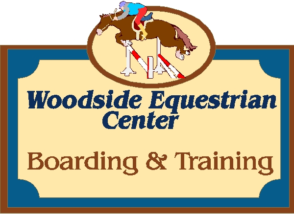 "P25122 - Carved HDU Sign for ""Woodside Equestrian Center"" Boarding and Training"