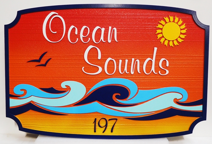 "L21172 - Sign for Condominium ""Ocean Sounds"" ,with  Sun and Stylized Surf"