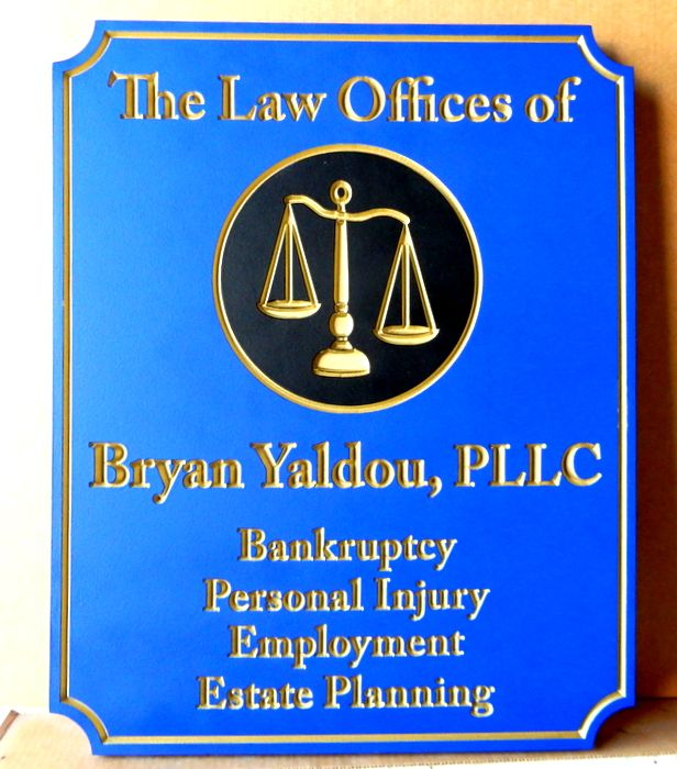 A10008 - Elegant Engraved Law Office Sign with Carved 3D Scales of Justice, Gold-Leaf