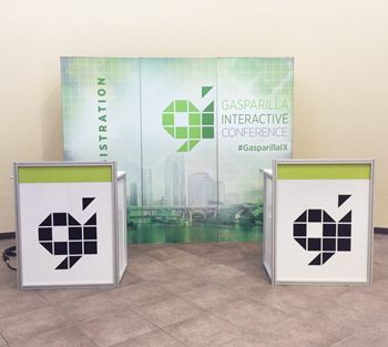 Tradeshow Podiums with Back Display