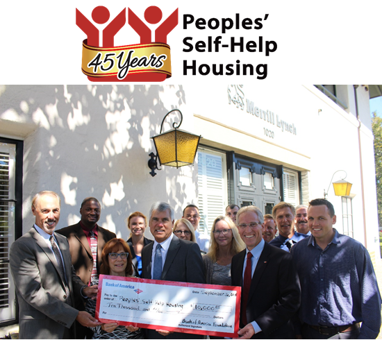 Bank of America contributes $10,000 to Peoples' Self-Help Housing for Nonprofit's 45th Anniversary