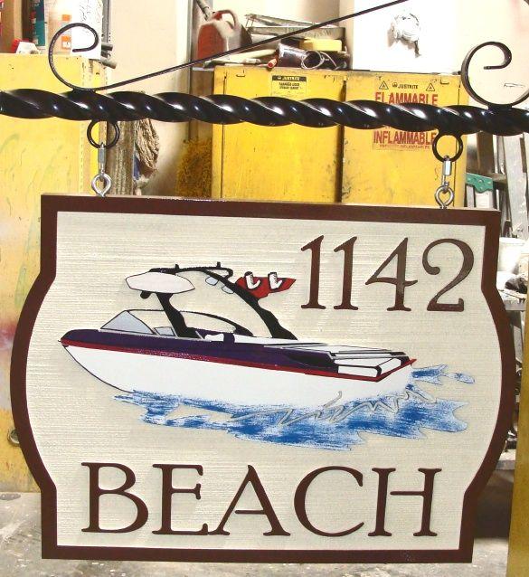 L21454 - Sandblasted HDU Artist Painted Address Sign with Speedboat, Wrought Iron Hanger
