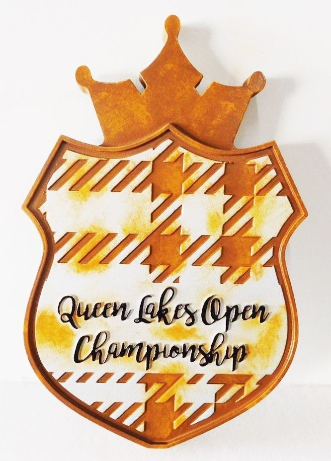 WP-1270 - Carved Plaque for Queen Lakes Open Golf Championship