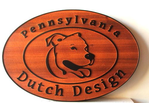 "SA28741 - Carved Cedar Wood Sign for ""Pennsylvania Dutch Design "" with Golden Retriever"