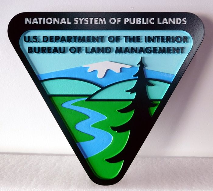 G16075 - Carved  Wall Plaque of the Seal/Logo for  BLM, 2.5-D Artist-Painted, with Fir Tree and Mountains