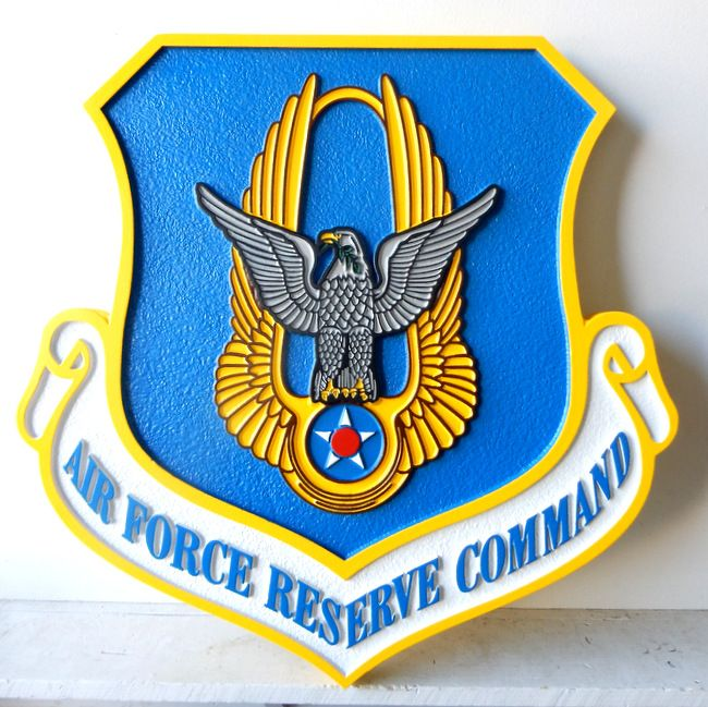 LP-1680 - Carved Plaque of the Shield Crest of the Air Force Reserve Command, 2.5-D Artist Painted