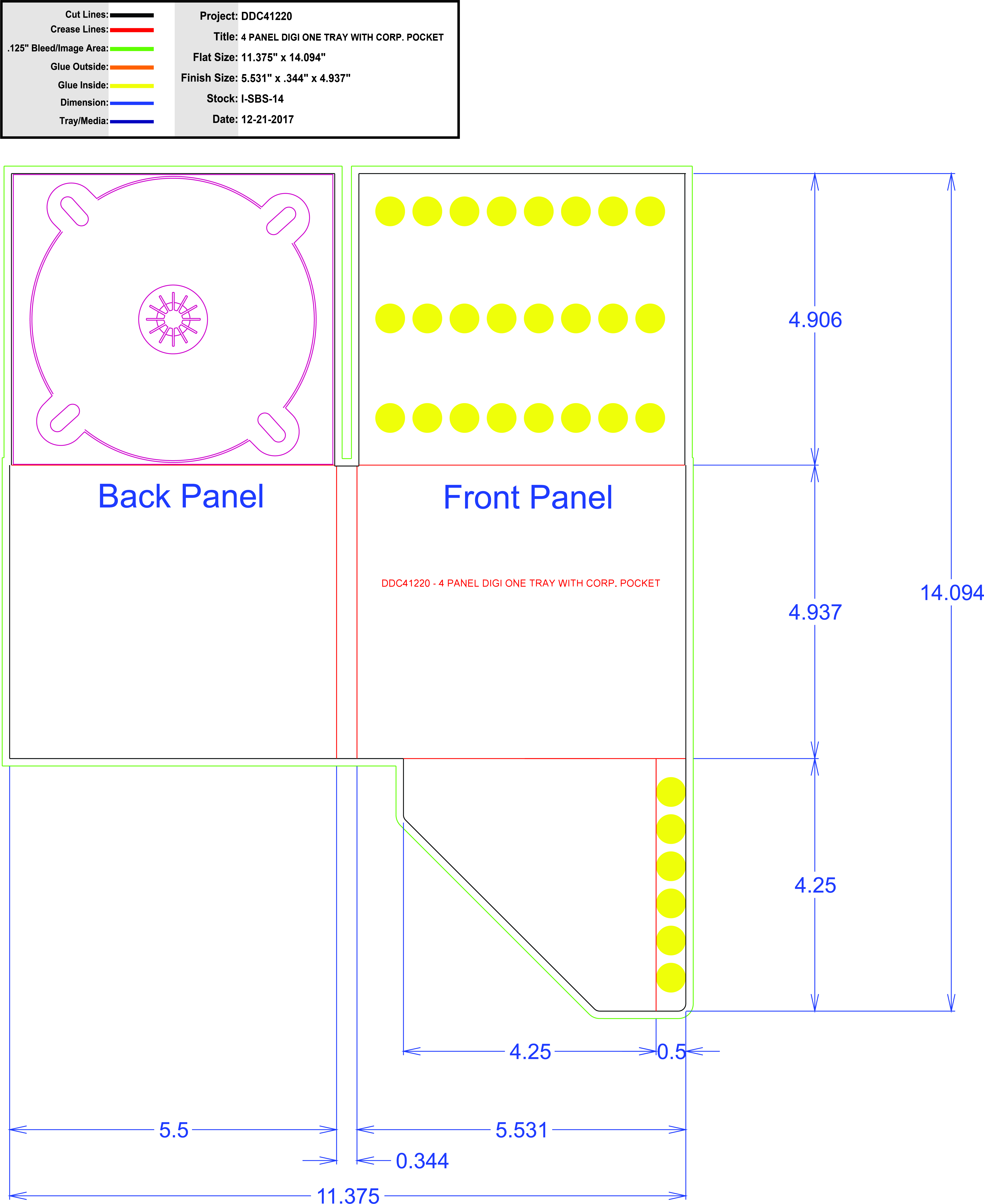 DDC41220 4 Panel Digi 1 Tray, Corp Pocket