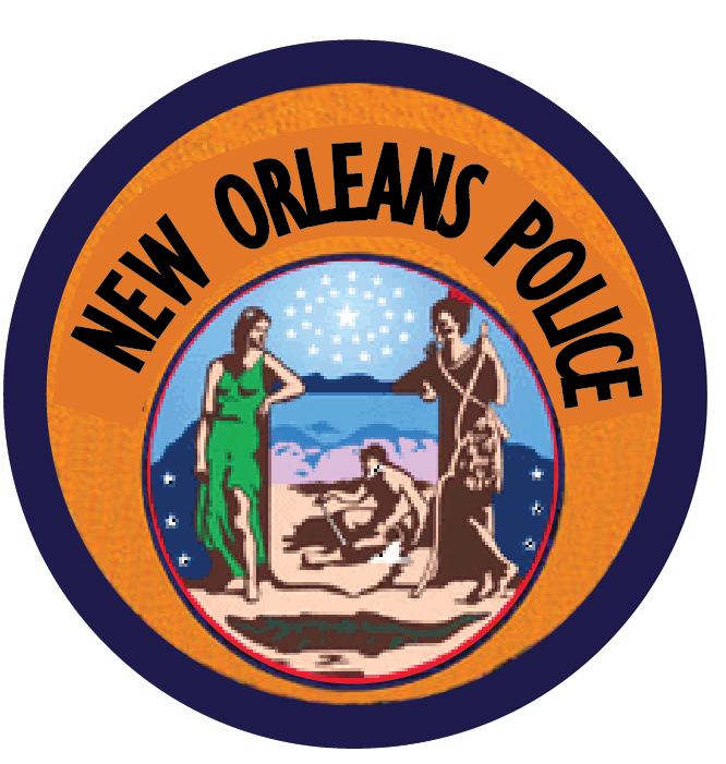 PP-2440 - Carved  Wall Plaque of the Shoulder Patch of the New Orleans Police, Louisiana, Artist Painted