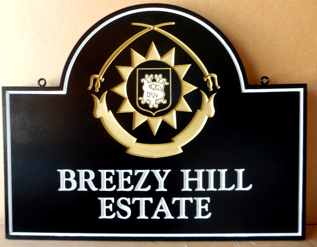 "I18170- Elegant Carved  and Engraved  Estate Name  Sign, with Coat-of-Arms, for ""Breezy Hill Estate"""