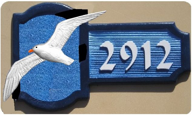 I18502 - Residence  Address Plaque with 3-D Carved Seagull